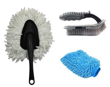 Speedwav Car Cleaning Kit Small Microfiber Duster+ Glove + Mats/Tyre Brush