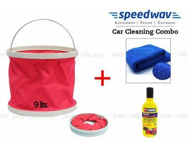 Speedwav Foldable Cleaning Kit Water Bucket/Trash Bin+ Abro Shampoo+ Cloth
