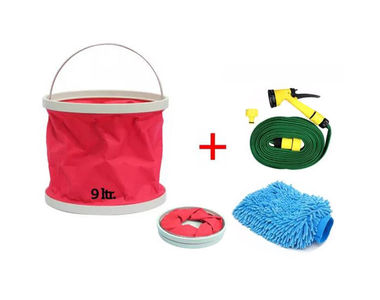 Speedwav Foldable Cleaning Kit Water Bucket+Spray Jet Gun+Microfiber Glove