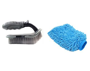 Speedwav Car Cleaning Kit Floor Mats/Tyre/Carpet Brush + Microfiber Glove