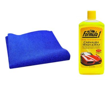 Formula 1 Car/Bike Wash and Wax Shampoo 473ml + Speedwav Microfiber Cloth