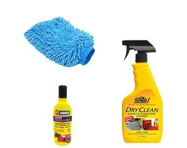 Formula 1 Car Cleaning Kit Upholstery 592ml+Microfiber Glove+Abro Shampoo