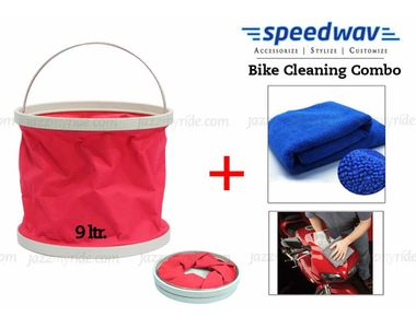 Speedwav Bike Cleaning Kit Water Bucket/Trash Bin + Microfiber Cloth