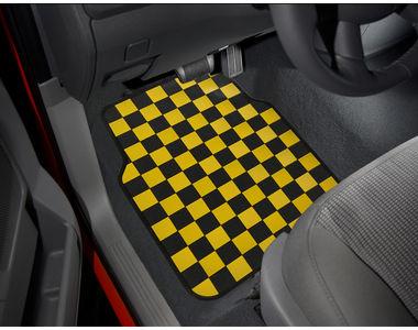 Speedwav Checkered Flag Car Floor Mats Set Of 4 Yellow And