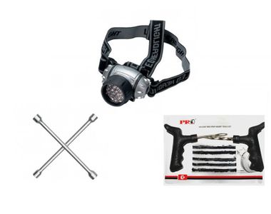 Combo of 4 Way Spanner+Tyre Puncture Kit+7 LED Adjustable Headlamp Light