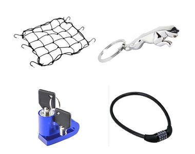 Combo Of Bike Cargo Bungee Net + Key Chain + Disk Lock + Number Lock