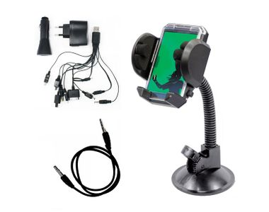 Combo Of Universal Car Mobile Holder + 3.5 MM Aux Wire + USB Car Charger