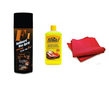F1 Dashboard Wax Polish Spray + Microfiber Cloth + Formula 1 shampoo 236 ml