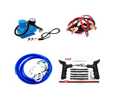 Combo of Speedwav Steel Tow Cable+Tyre Inflator+Jumper Cable+Puncture Kit