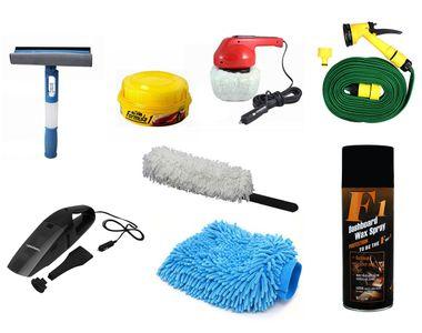 8in1 Combo-Water Gun+Polisher+Duster+Polish+Wiper+Spray Wax+Glove+Vacuum Cleaner