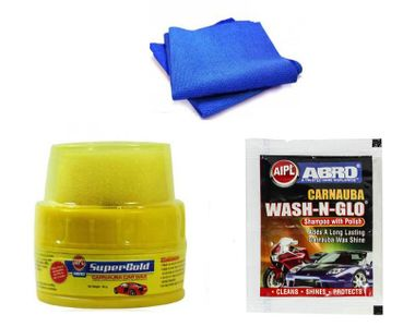 Abro Bike Cleaning kit ( Shampoo Pouch+Wax Polish+Microfiber Cloth)