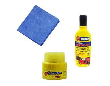 Abro Car Cleaning kit (Shampoo Bottle +Wax Polish + Microfiber Cloth)