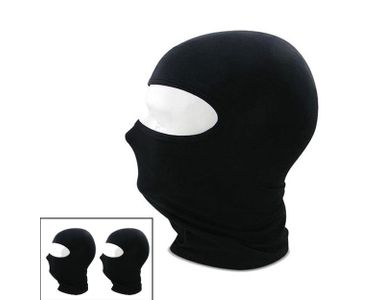 Stretchable Balaclava Face Mask for Bike - Black Colour (Set of 2)