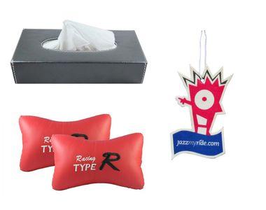 Combo of Speedwav Tissue Holder Grey+TypeR Pillow Red+Jazzy Hanging Perfume