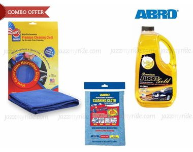 Combo of ABRO Gold Car wash-1.82 ltr+Set of 2 Chamois Cleaning Cloth