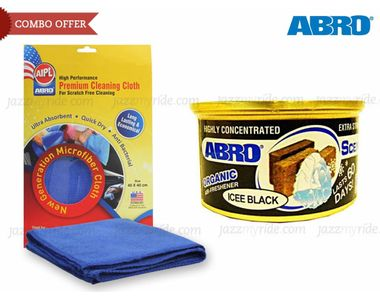Combo of Abro Scent Organic Air freshener-ICE+Microfiber Cloth CT-210