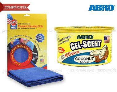 Combo of Abro Gel Scent Air Freshener/Perfume-COCONUT+Microfiber Cloth CT-210