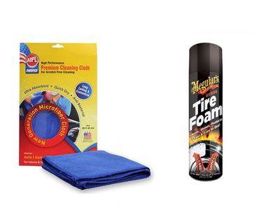 Combo of Meguiars Hot Shine Tire Foam-538ml+Abro Microfiber Cloth