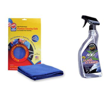 Combo of Meguiars NXT Generation Glass Cleaner-709ml+Abro Microfiber Cloth