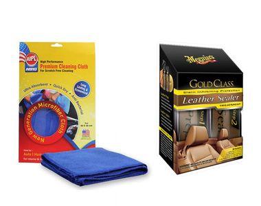 Combo of Meguiars Leather Guard-414ml+Abro Microfiber Cloth