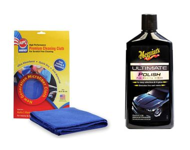 Combo of Meguiars Ultimate Polish-473ml+Abro Microfiber Cloth