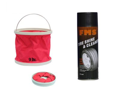 FMS Auto Tyre Shine and Cleaner-600ml+Foldable Water Bucket