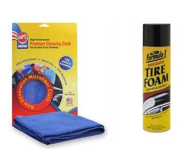 Formula 1 Foam Car/Bike Foam Rubber / Tyre Shiner+Abro Microfiber Cloth