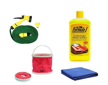 Formula 1 Wash& Wax Shampoo-473ml+Water Gun+Abro Microfiber Cloth+Foldable Bucket