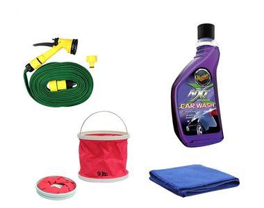 Meguiars NXT Gen Car Wash-532ml+Water Gun+Abro Microfiber Cloth+Foldable Bucket