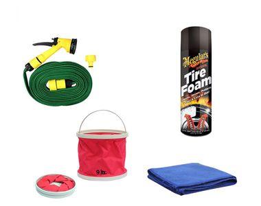 Meguiars Hot Shine Tire Foam-538ml+Water Gun+Abro Cloth+Foldable Bucket