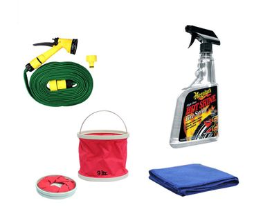 Meguiars Hot Shine Tyre Polish-710ml+Water Gun+Abro Cloth+Foldable Bucket