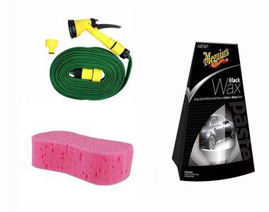 Meguiars Black Wax Polish-198ml +Magic Sponge+Spray Gun