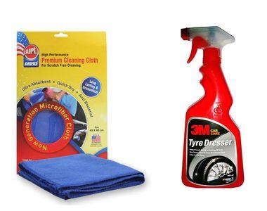 Combo of 3M Car Tyre Dresser(500 ML) + Abro Microfiber Cloth