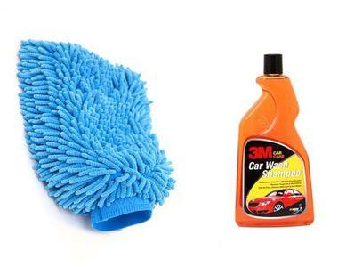 Combo of 3M Car Shampoo(500 ML) + Speedwav Microfiber Glove Mitt