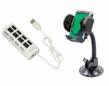 Speedwav 4 in 1 Hi-Speed Car USB Hub+Fly Mobile Holder With Frame