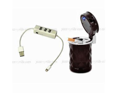 Speedwav 4 in 1 Car/Laptop/IPhone USB Hub+Cigarette Ashtray + LED Light - BROWN