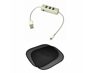 Speedwav 4 in 1 Car/Laptop/IPhone USB Hub+Side Window Sunshades Stick On