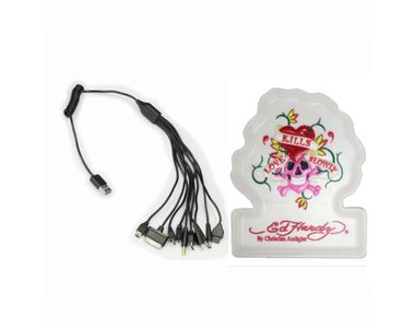Speedwav 10 in 1 Car Mobile Charger+Ed Hardy Anti-Slip Dashboard Mat-WHITE