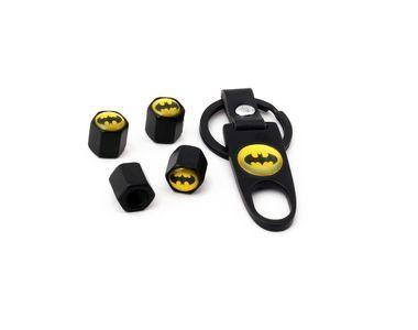 Speedwav Designer Batman Keychain + Tyres Air Valve Caps Set Of 4-BLACK