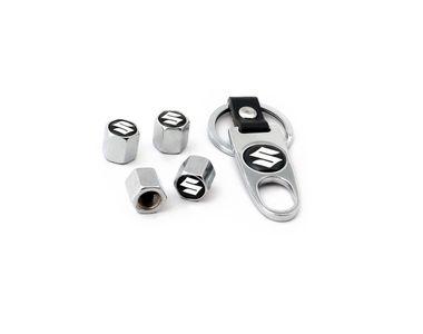 Speedwav Suzuki Keychain + Tyres Valve Caps Set Of 4 CHROME