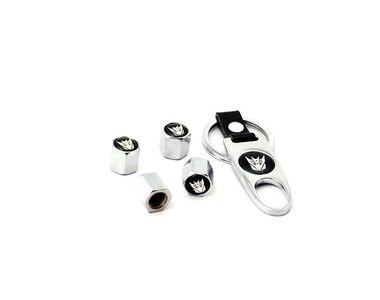 Speedwav Designer Transformer Keychain+Tyres Air Valve Caps Set Of 4-CHROME