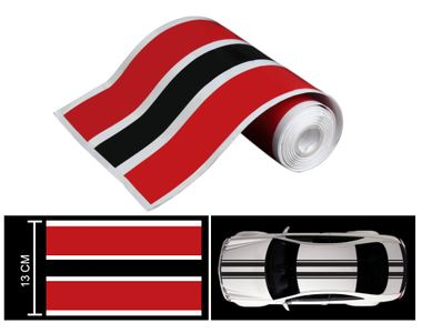 Speedwav Car Racing Stripe Vinyl Decal Graphic Sticker-Red And Black