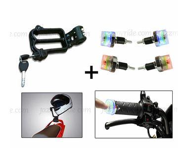 Speedwav Bike Helmet Security Lock + LED Switchable Colors Lights Bike Handle Grip Edge