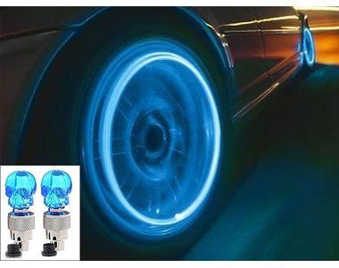 Speedwav Skull Shaped Tyre LED Motion Sensor Set of 2-Blue