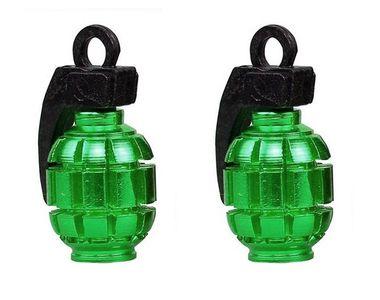 Speedwav Grenade Style Bike Tyre Valve Caps Set Of 2 - Green
