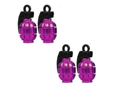 Speedwav Grenade Style Car Tyre Valve Caps Set Of 4 - Purple