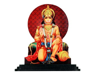 Speedwav Car Dashboard Printed God Idol - Sitting Hanuman Ji
