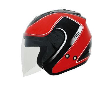 THH Helmet Open Face T-386-2 Black Red