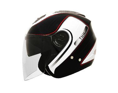 THH Helmet Open Face T-386-2 Black White