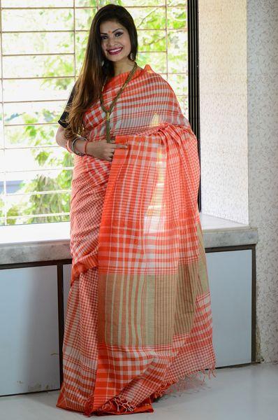 e6dcd7b77d Linen Khadi Cotton Handloom Gamcha Saree